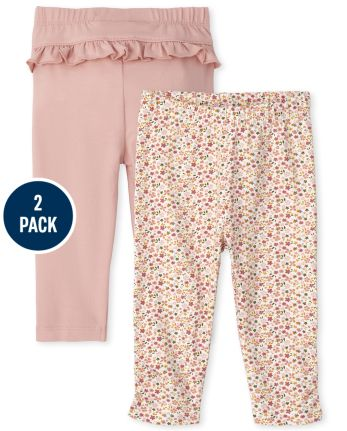 Baby Girls Floral Pants 2-Pack