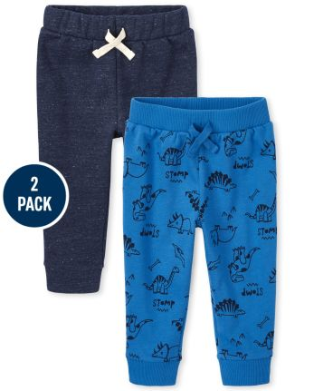 Toddler Boys Dino Fleece Jogger Pants 2-Pack
