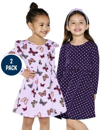 Toddler Girls Butterfly Dot Babydoll Dress 2-Pack