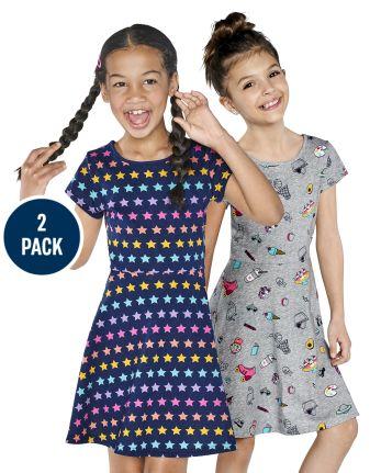 Girls Print Skater Dress 2-Pack