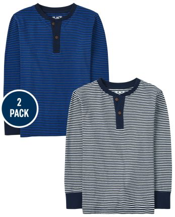 Boys Striped Henley Top 2-Pack