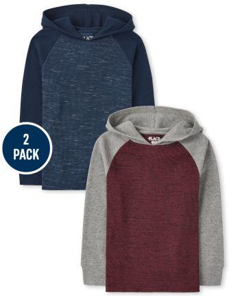 Boys Raglan Thermal Hoodie Top 2-Pack