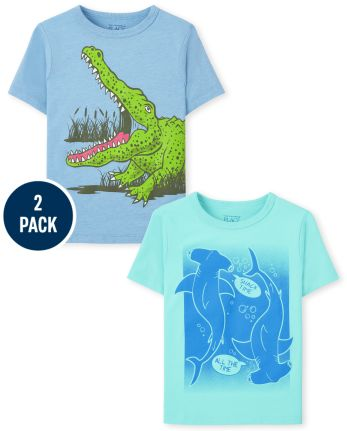 Baby And Toddler Boys Shark And Crocodile Graphic Tee 2-Pack