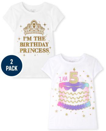 Girls 5th Birthday Graphic Tee 2-Pack