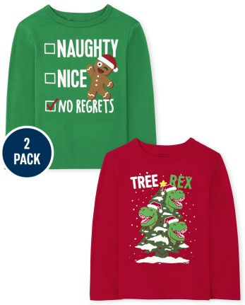 Toddler Boys Christmas Graphic Tee 2-Pack