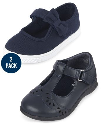 Toddler Girls Uniform Laser Cut Flower T-Strap Shoes And Uniform Bow Strap Canvas Sneakers 2-Pack