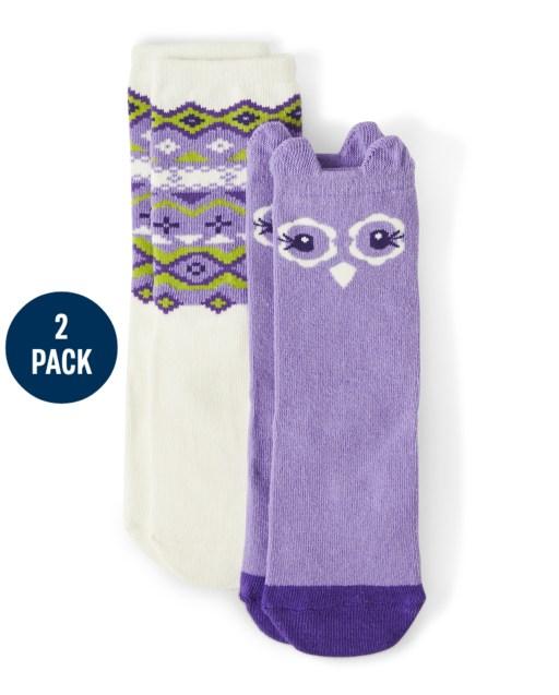 Girls Owl Crew Socks 2-Pack - Whooo's Cute