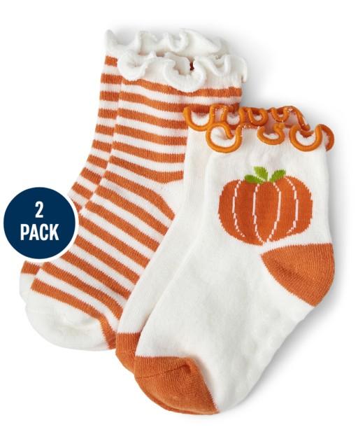 Girls Pumpkin And Striped Midi Socks 2-Pack - Lil' Pumpkin