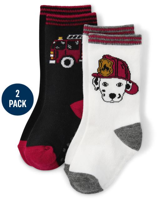 Pack de 2 pares de calcetines con diseño de dálmata y camión de bomberos para niños - Jefe de bomberos