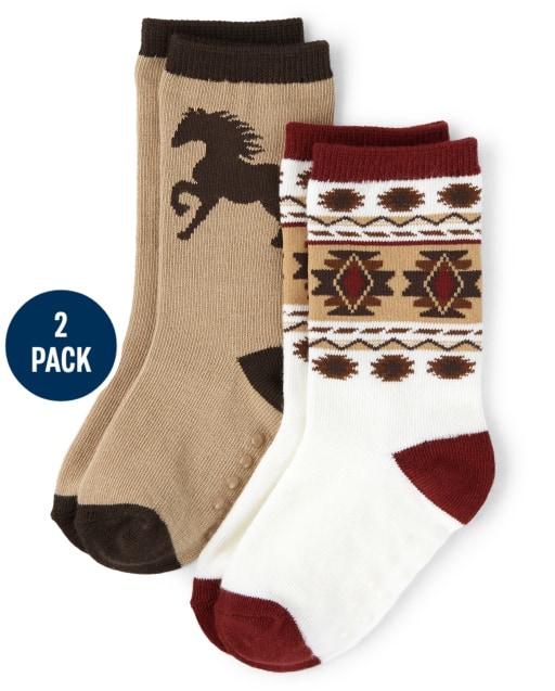 Pack de 2 pares de calcetines deportivos a rayas y caballos para niños - Western Skies