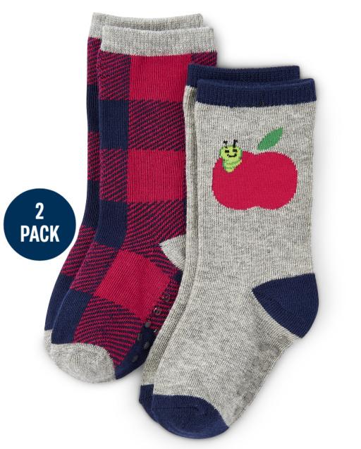 Pack de 2 pares de calcetines de manzana y cuadros escoceses para niños - Favorito del '