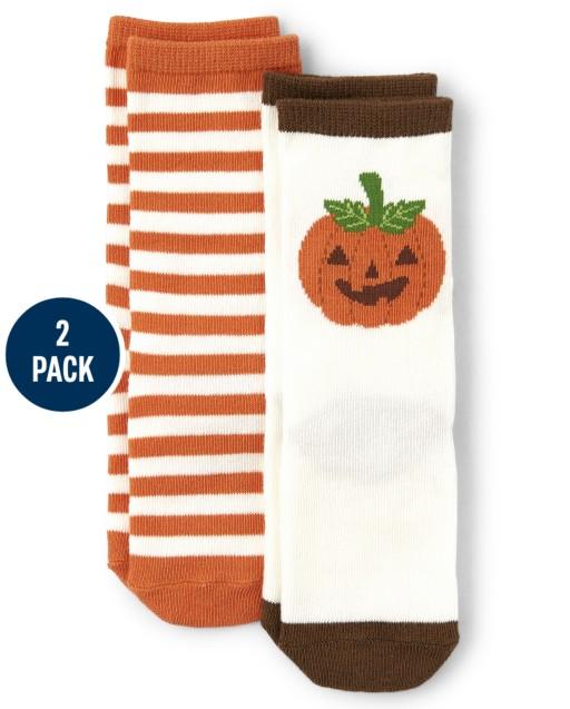 Boys Striped And Jack-O-Lantern Crew Socks 2-Pack - Lil Pumpkin