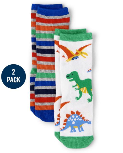 Boys Dino Print And Striped Crew Socks 2-Pack - Dino Dude