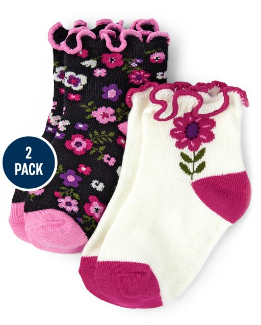 Pack de 2 pares de calcetines a media pierna con estampado floral para niñas - Tree House
