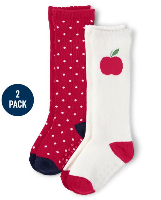 Pack de 2 calcetines hasta la rodilla con estampado y manzana para niñas - Favorito del '