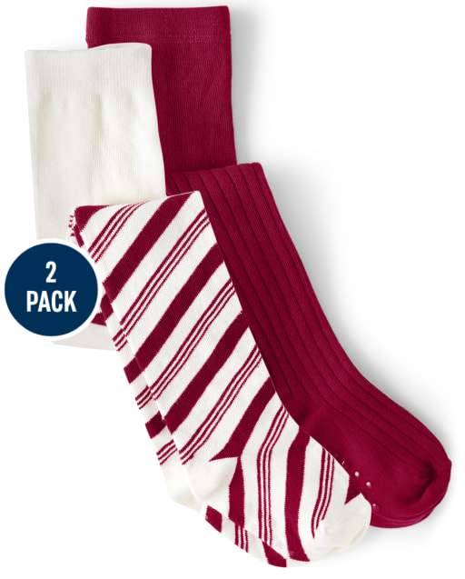 Girls Striped Print And Solid Tights 2-Pack - Ho Ho Ho
