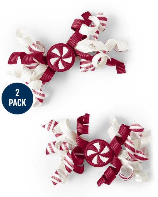 Paquete de 2 pinzas de pelo rizado Candy para niñas - Ho Ho Ho