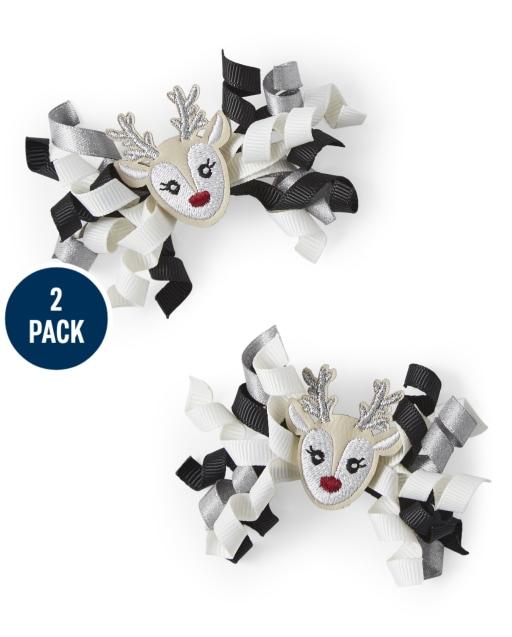 Paquete de 2 pinzas para el pelo rizado de reno para niñas - Reindeer Cheer