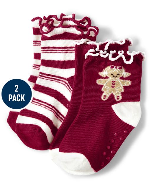 Pack de 2 pares de calcetines a media pierna con estampado de jengibre y rayas para niñas - Ho Ho Ho