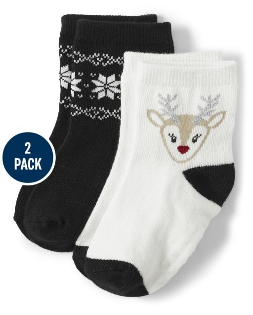 Pack de 2 pares de calcetines a media pierna con reno y copo de nieve para niñas - Reindeer Cheer