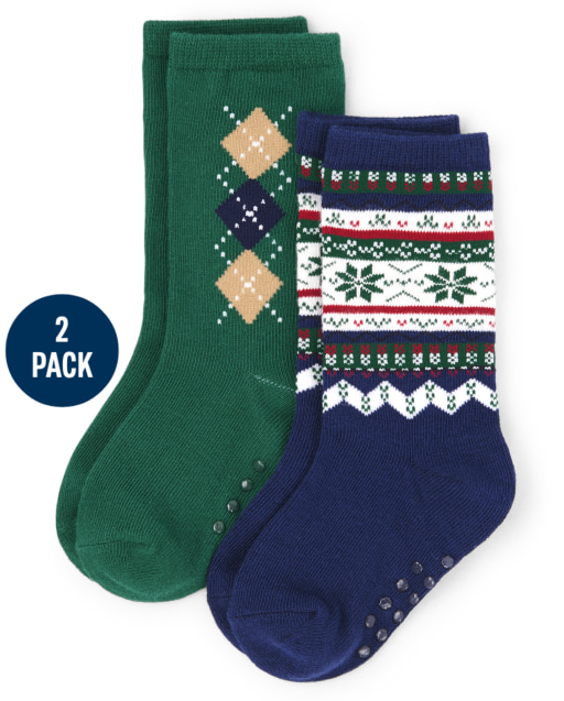Boys Argyle And Snowflake Fairisle Print Crew Socks 2-Pack - Family Celebrations Green