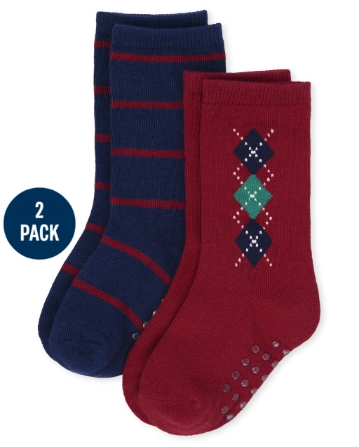 Boys Argyle And Striped Crew Socks 2-Pack - Family Celebrations Red