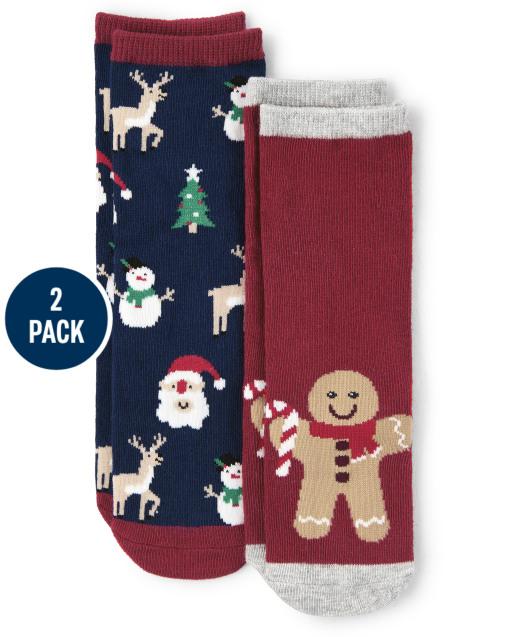 Boys Gingerbread and Christmas Print Crew Socks 2-Pack - Ho Ho Ho