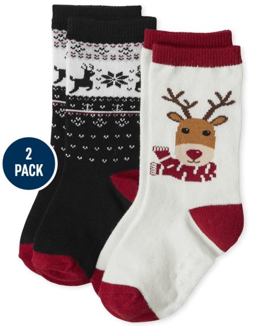 Boys Reindeer and Fairisle Print Crew Socks 2-Pack - Reindeer Cheer