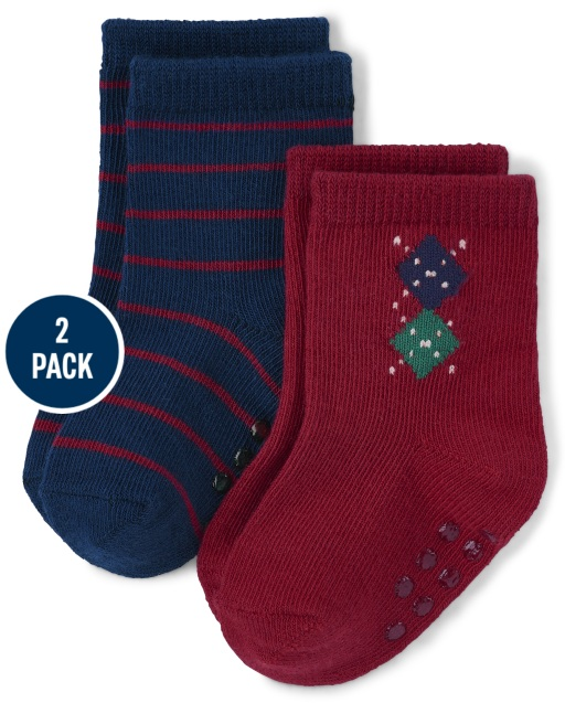 Baby Boys Argyle And Striped Crew Socks 2-Pack - Family Celebrations Red
