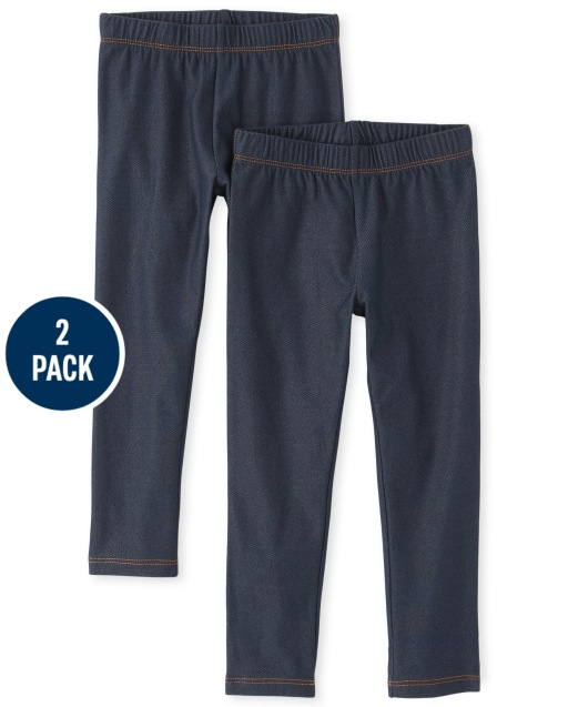 Girls Faux Denim Knit Leggings 2-Pack