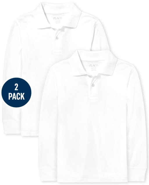 Pack de 2 polos de piqué de manga larga de uniforme para niños