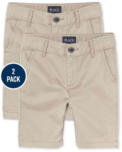 Boys Uniform Stretch Woven Chino Shorts 2-Pack