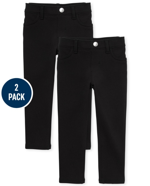 Toddler Girls Uniform Woven Stretch Ponte Knit Pull On Jeggings 2-Pack