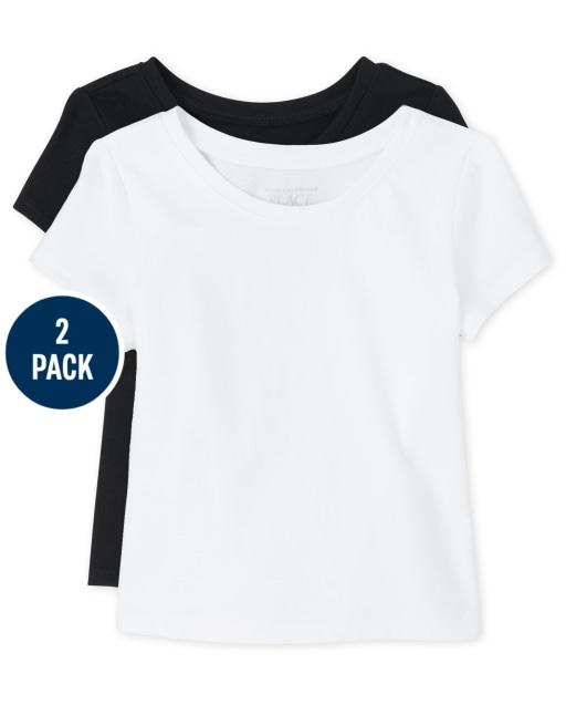 Toddler Girls Uniform Long Sleeve Basic Layering Tee 2-Pack