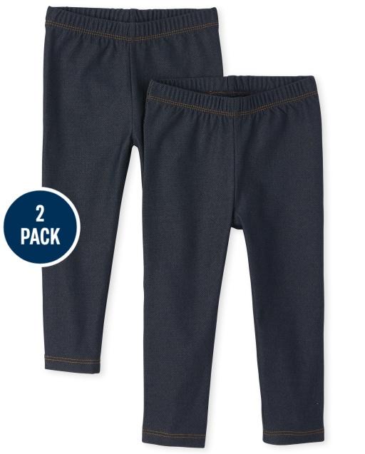 Toddler Girls Uniform Faux Denim Knit Leggings 2-Pack