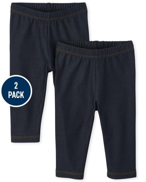 Toddler Girls Uniform Faux Denim Knit Capri Leggings 2-Pack