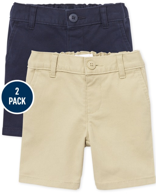 Toddler Girls Uniform Woven Stretch Chino Shorts 2-Pack