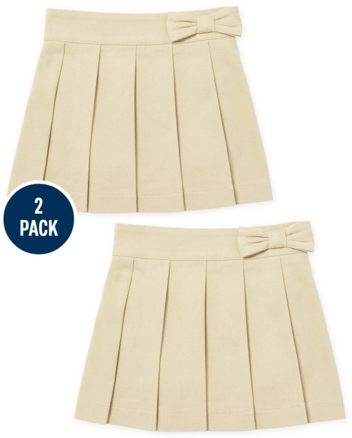 Toddler Girls Uniform Woven Stretch Bow Pleated Pull On Skort 2-Pack