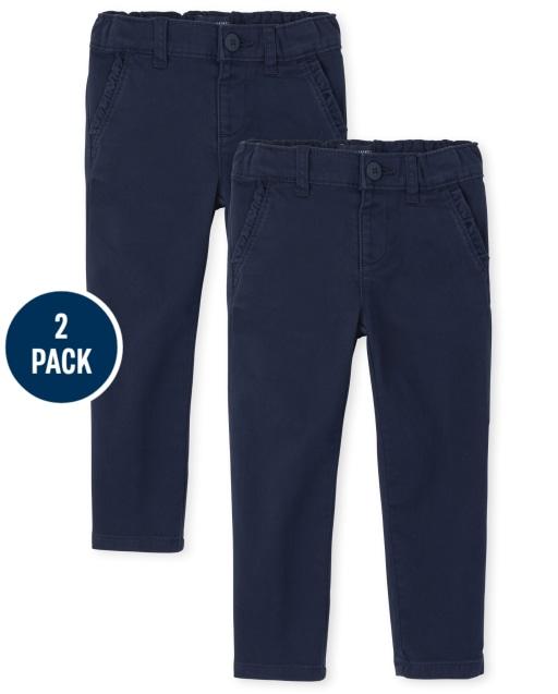Toddler Girls Uniform Woven Stretch Skinny Chino Pants 2-Pack