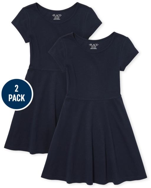 Girls Uniform Short Sleeve Knit Skater Dress 2-Pack