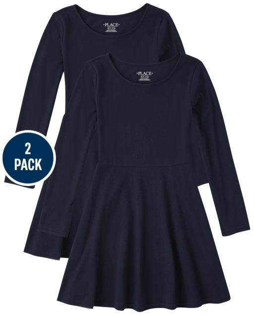 Girls Uniform Long Sleeve Knit Skater Dress 2-Pack