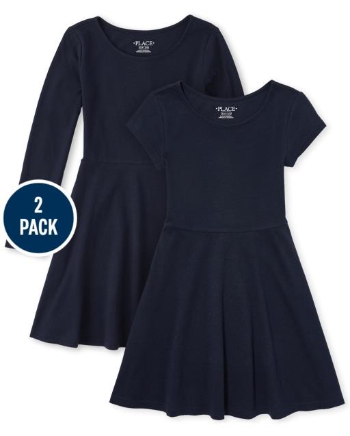 Girls Uniform Short Sleeve And Long Sleeve Knit Skater Dress 2-Pack