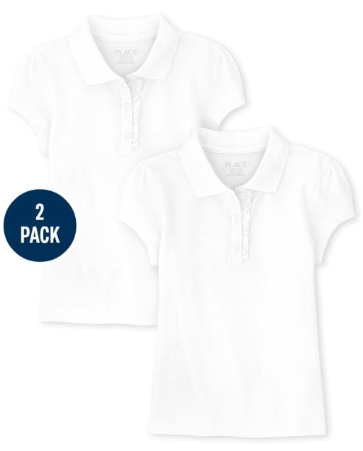 Pack de 2 polos de piqué de uniforme con volantes para niñas