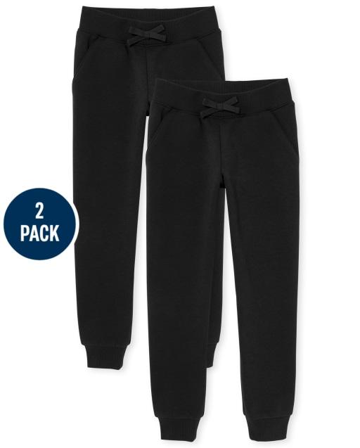 Pantalón de chándal de polar de uniforme para niñas, paquete de 2