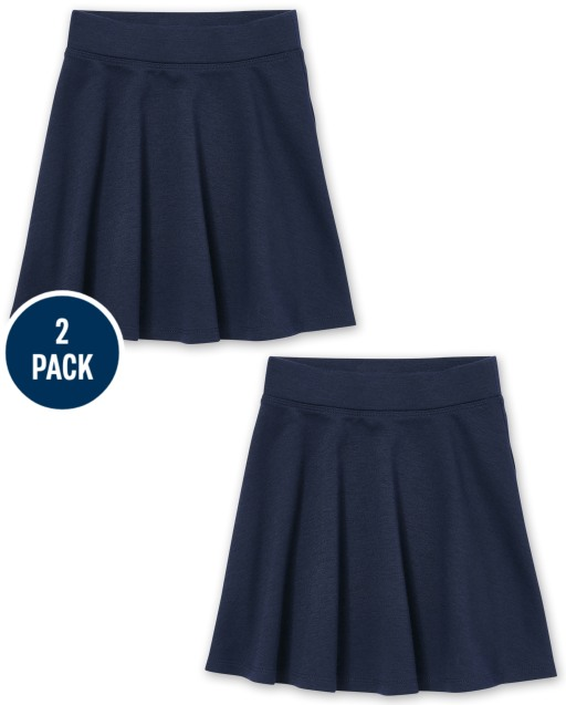 Girls Uniform Stretch Ponte Knit Skort 2-Pack