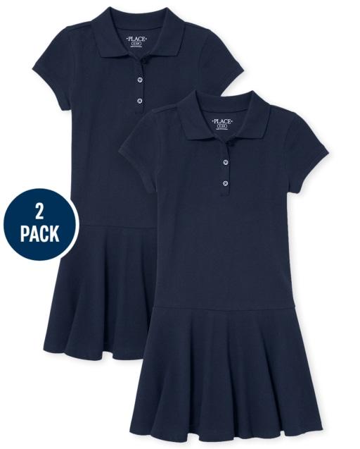 Girls Uniform Short Sleeve Pique Polo Dress 2-Pack