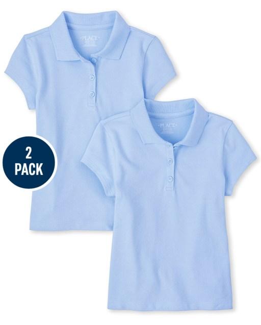 Girls Uniform Short Sleeve Pique Polo 2-Pack