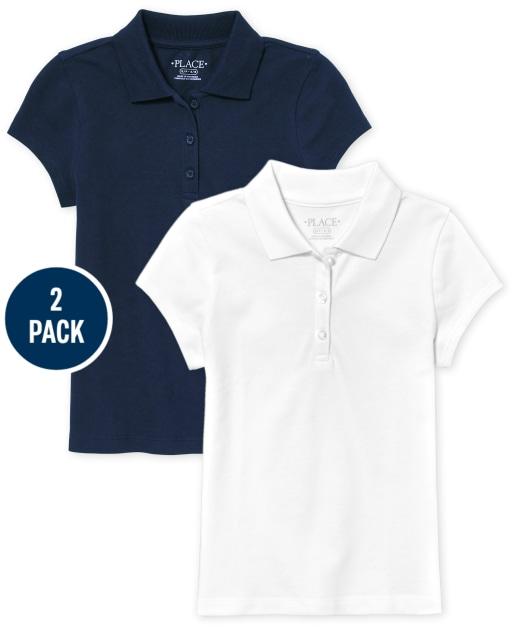 Conjunto de 2 polos de piqué de manga corta de uniforme para niñas