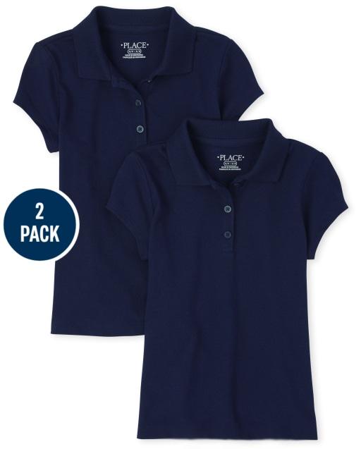 Conjunto de 2 polos de jersey suave de manga corta de uniforme para niñas
