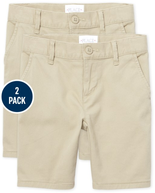 Girls Uniform Stretch Woven Chino Shorts 2-Pack